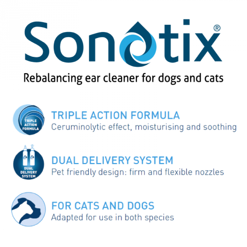 Sonotix ear cleaner for dogs and cats - benefits